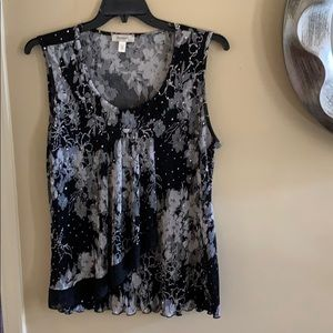 Black & White sequin Sleeveless blouse 2X